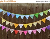 SALE 50% OFF Banner Fabric Bunting Fabric Banner Birthday Party Bunting Baby Shower Nursery Art Hanging Wall Art Party Birthday Decoration P
