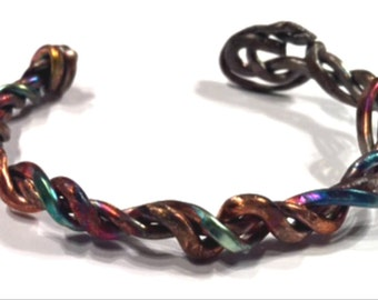 """Fire Painted Copper """"Sparks"""" Bracelet Handmade Wire Wrapped"""