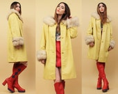 60s 70s Vtg Genuine FOX Fur & Yellow LEATHER Mod DOLLY Jacket / Boxy Straight Cut Glam Hippie Boho Trench Pea Coat / Sm Med