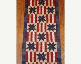 MARDI GRAS SALE Instructions Only -Stars and Stripes Patriotic quilted table runner pattern Summer June Year one