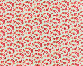 LITTLE RUBY  by the half yard Moda cotton quilt fabric Bonnie & Camille-55138-12 red flowers in crescent on aqua