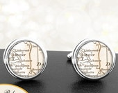 Cufflinks Dover Delaware Handmade Cuff Links City State Maps DE Groomsmen Wedding Party Fathers Dads Men