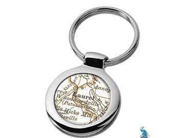 Map Keychain Laurel Maryland Key Ring Fob
