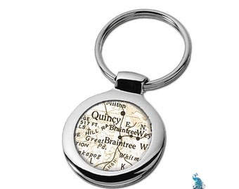 Map Keychain Braintree MA Quincy Massachusetts Key Ring Fob
