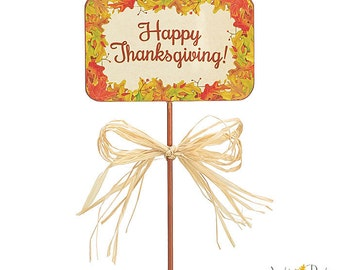 "HAPPY THANKSGIVING 12"" Floral Leaf Border Wooden PICKS Florist Centerpiece Stakes (Free Shipping!)"