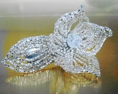 Silver Flower Floral Bloom French Beaded Fascinator - Sparkle Collection