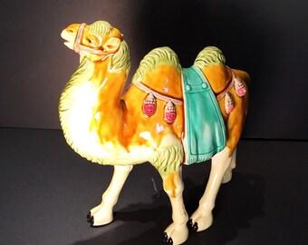 Vintage Ceramic Hand Painted Camel Decorative Statue