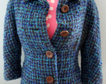 Teal Wool Cropped Bouclé Jacket Three Quarter Sleeves Frederick Starke