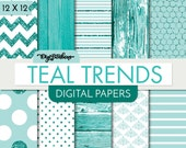 Teal Glittery Seamless Patterns - Scrapbook Digital Papers - 12 x 12 - Features Teal Glitter Chevron, Wood, and more of our Best Sellers