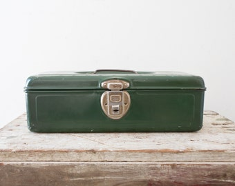 Industrial Metal Toolbox - Union Green Case Box Tool Tackle Tools Box Vintage Olive Orange Tacklebox Container Organizer Retro