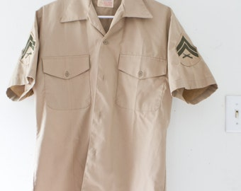 Vintage Army Button Up Shirt Army Green Gray Button Up Shirt Tunic