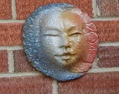 Moon and Sun / Pottery and Ceramic / Wall and Garden Hanging Decor / Day and Night