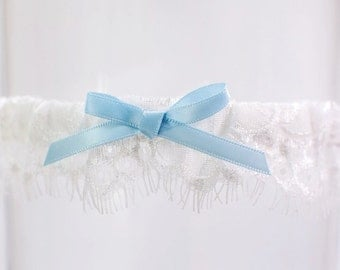 Delicate French Lace Toss Garter Delicate Lace Garter with Blue Bow Modern Ivory Lace Garter Dainty lace garter Lace Bridal Garter Wedding