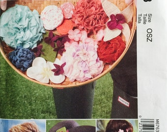 McCall's Fashion Accessories M6763 Flowers Pattern, UNCUT, Hair Accessories, Pins, Adornments, 2013