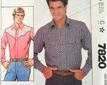 McCall's 7820, Size 42, Men's Shirt Pattern, UNCUT, Western Shirt, Vintage 1981, Retro, Long Sleeved Shirt Pattern