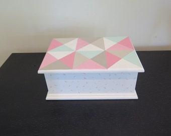 Keepsake box, jewellery box , geometric design, handpainted box,