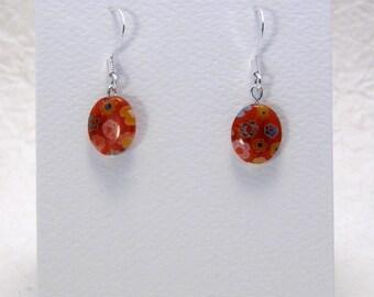 Red Millefiori Earrings