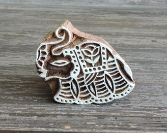 Elephant Stamp: Hand Carved Wood Printing Block, Indian Wooden Textile Pottery Clay Ceramic Stamp from India, Trunk Up Lucky Feng Shui