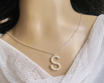 Pearl alphabet charm necklace, bridal, bridesmaids necklace, wedding jewelry - W052