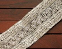 1 Yard-Silver Thread Braided Ribbon Trim-Yoga Bracelet Trim-Wrist Wrap Ribbon-Braided Ribbon-Silver Fabric Ribbon-Crazy Quilt Trim