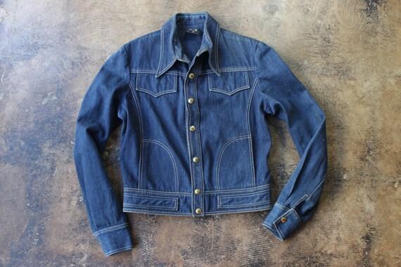 1970's Dark DENIM Jacket / Designer Vintage Jean Jacket / Vintage Women's Small to Medium Outerwear