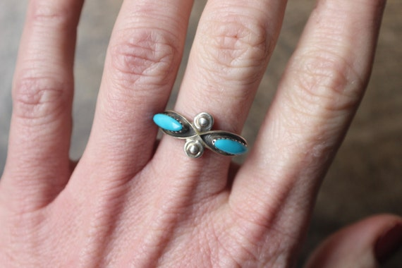 Turquoise Stacking RING / Sterling Silver Southwest Ring / Vintage Southwest Jewelry