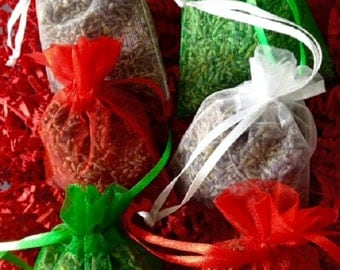 6 Fragrant Christmas Sachets, Lavender Sachets Red Green & White Christmas bows/organza bags with Lavander