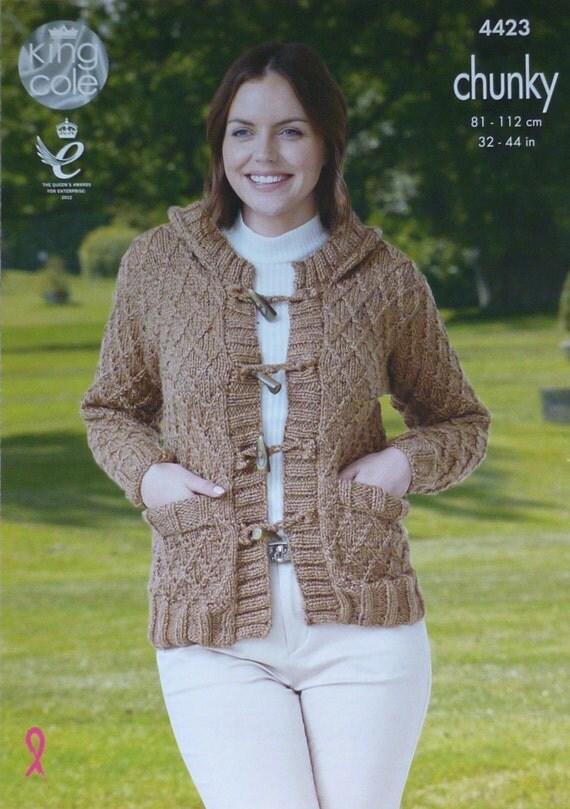 Knitting Pattern Ladies Hooded Jacket : Womens Knitting Pattern K4423 Ladies Long Sleeve Trellis ...