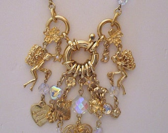 Kirks Folly Retired Charm Necklace 'Dance with the Fairies' Gold Tone AB Crystals Retired