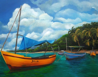 """Mother's Gift !! The Best Cuban Art. Oil painting  18""""x 12""""  Title : """"Waiting for the Winds"""""""