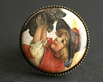 Witch Ring. Halloween Ring. Vintage Print Button Ring. Cute Witch and Black Cat Ring. Adjustable Ring. Bronze Ring. Handmade Jewelry.