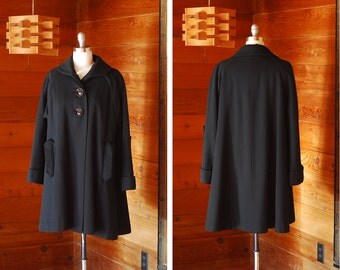 vintage 1950s coat / 50s black wool swing coat / size large