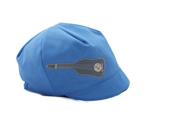 SALE*** Boys Guitar Hat, Boys Banjo Hat, Kids Musician Hat,  Reversible Blue Hat, baby toddler child hat - M