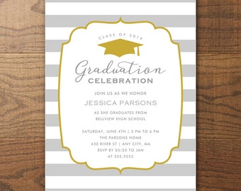 Printable Graduation Party Invitation, Stripes