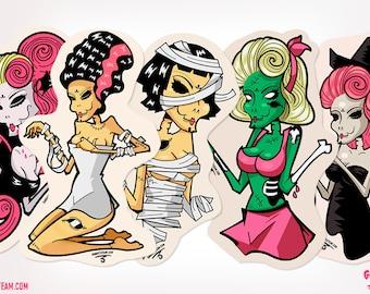 Halloween Set Pack 5 Stickers Girls of horror Witch sticker Frankenstein sticker Vampire sticker Mummy sticker Zombie sticker