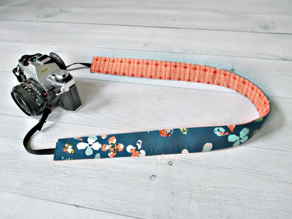 Reversible Camera Strap | Teal and Peach Floral Cross Body DSLR Strap