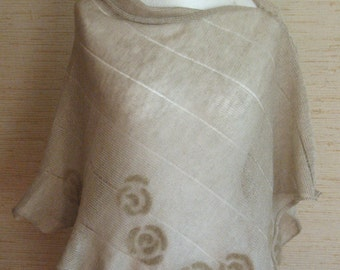 Linen Shawl Cape Clothing Natural Gray Beige Felted Wool