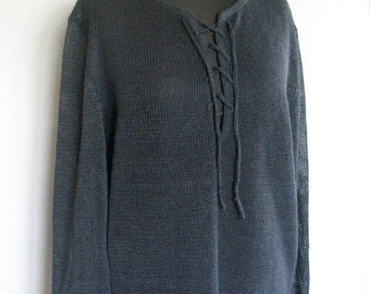 Man Dark Gray Linen Shirt Top Sweater Clothing Natural Grey knitted summer