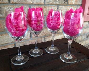 Wine Glasses set of 4 laser engraved