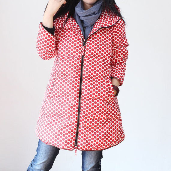 Lovely Large size hooded down feather coat