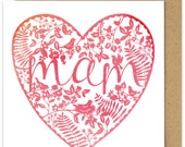 Welsh Mother's Day Card .Mam Watercolour Style Heart Mothers Day Card. Sul Y Mamau Hapus. Pink Heart.  Mothering Sunday. Welsh card