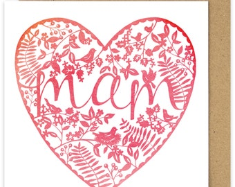 Mam Card. Welsh Mother's Day Card. Mam Watercolour Style Heart Mothers Day Card. Sul Y Mamau Hapus. Pink Heart  Mothering Sunday. Welsh card