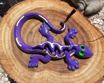 Cast Iron Gecko, Lizard, Home Decor, Garden Decor, Purple, Green and Yellow