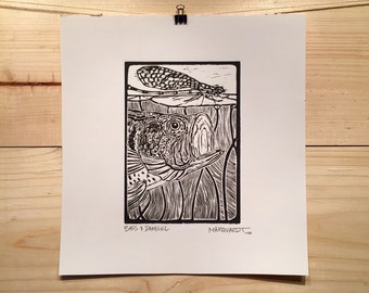 Bass and Damsel linocut print fly fishing art by Jonathan Marquardt of BadAxeDesign