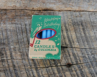 11 Vintage Blue Happy Birthday Candles by Columbia Wax Works Ozone Park NY