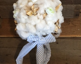 Handmade organic cotton bouquet with your choice of ribbon color.