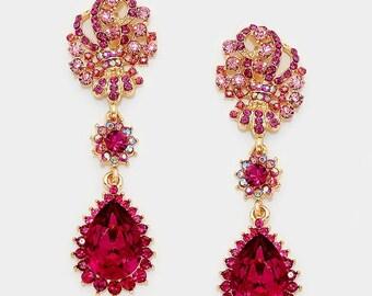 Bridal jewelry, Bridal earrings, Wedding jewelry, wedding earrings, Ruby crystal earrings, Victorian earrings, teardrop Fuchsia earrings
