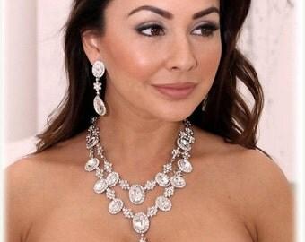 Bridal jewelry, Wedding jewelry set, Bridal necklace, vintage inspired bridal statement, crystal jewelry, wedding earrings, evening jewelry