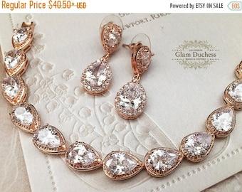 Wedding jewelry set, bridesmaid jewelry set, Bridal earrings, Bridal bracelet, Bridal jewelry set, Rose gold zircon crystal earrings