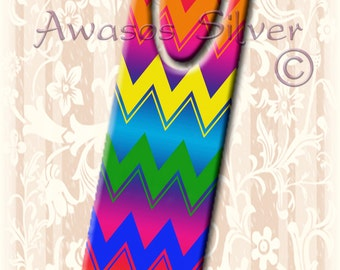 Metal bookmark with high quality printed original images. Colorful chevron patterns on high quality metal bookmark.